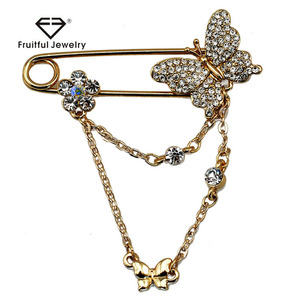 KC Gold Plated Elegent Austrian Crystal Brooch Wholesale Classic Lovely Butterfly Design Tassel Lady Brooch Pins
