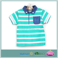Hotseller Soft Stripe Kid's T-shirt with Shirt Collar (high quality & cheap price)