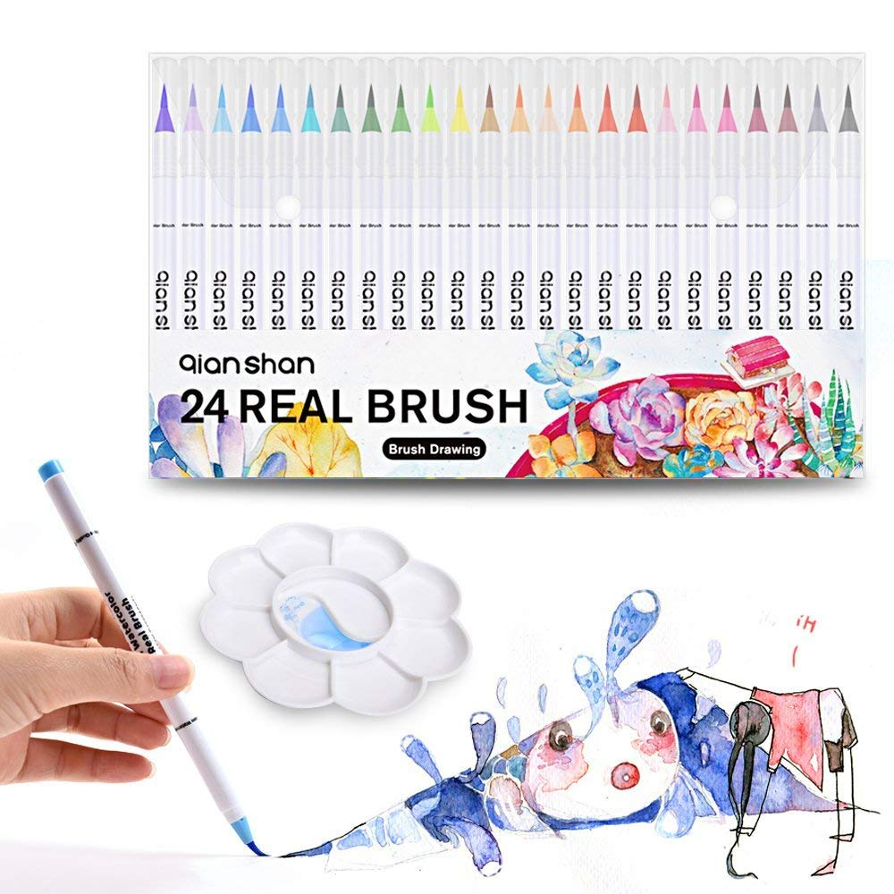 Real Brush Markers with Palette, Professional Watercolor Brush Pens 24 Colors Soft Flexible Brush Tips for Adult Coloring Books Painting Drawing Manga Sketching Calligraphy Writing qianshan