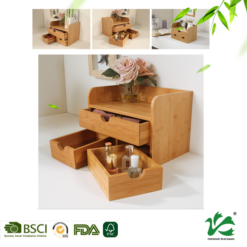 Customized multipurpose bamboo storage box bamboo drawer organizer