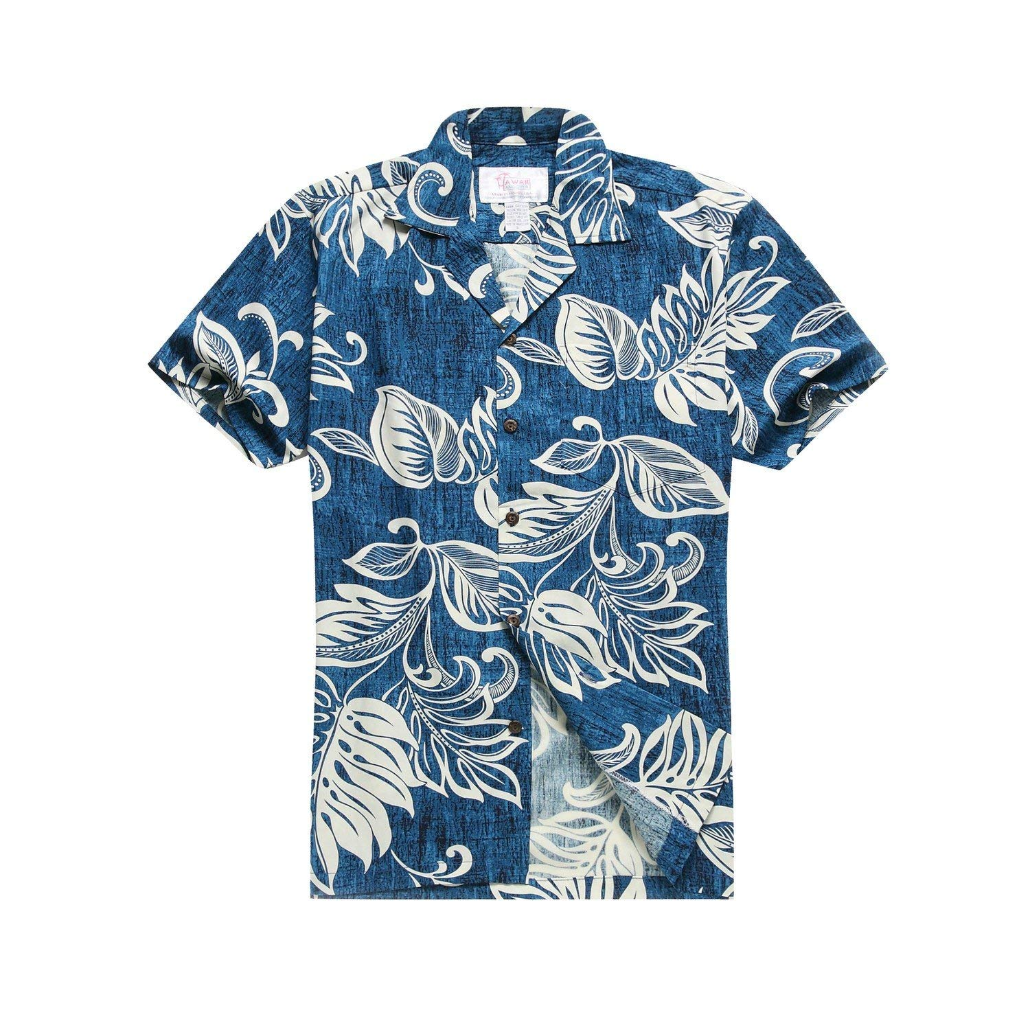 58e16977 Get Quotations · Made In Hawaii Men's Hawaiian Shirt Aloha Shirt In Vintage  Leaves In Royal Blue