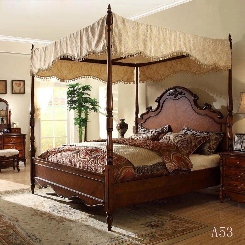 estilo antiguo de madera maciza cama marco-Conjunto de Dormitorio ...