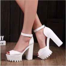 2015 New style women's summer shoes gauze open toe sandals platform shoes female thick heel platform high heels female sandals