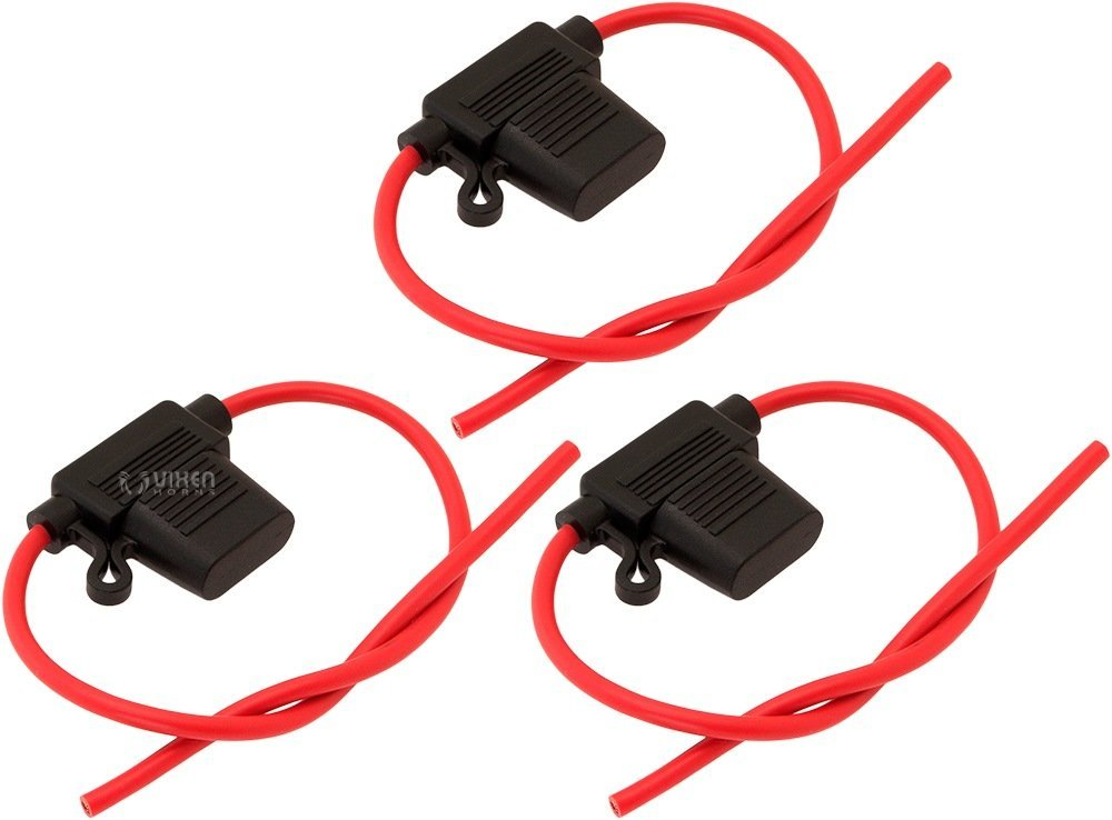 Vixen Horns 30A In-line ATC Blade Fuse with Waterproof Holder - Bundle of three fuses VXA7030-3