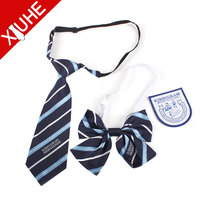 polyester Custom Logo tie and bow tie , School necktie with Badge
