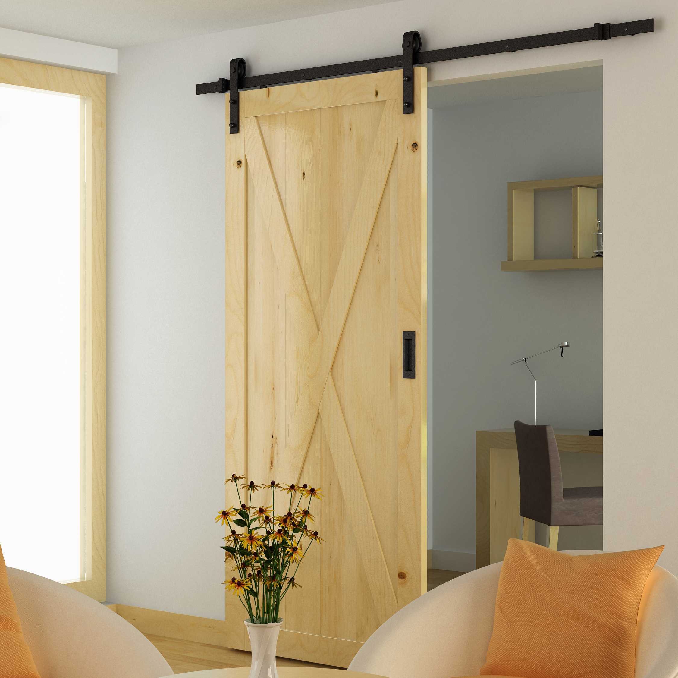 X Brace Interior Sliding Barn Door Wooden Single Door