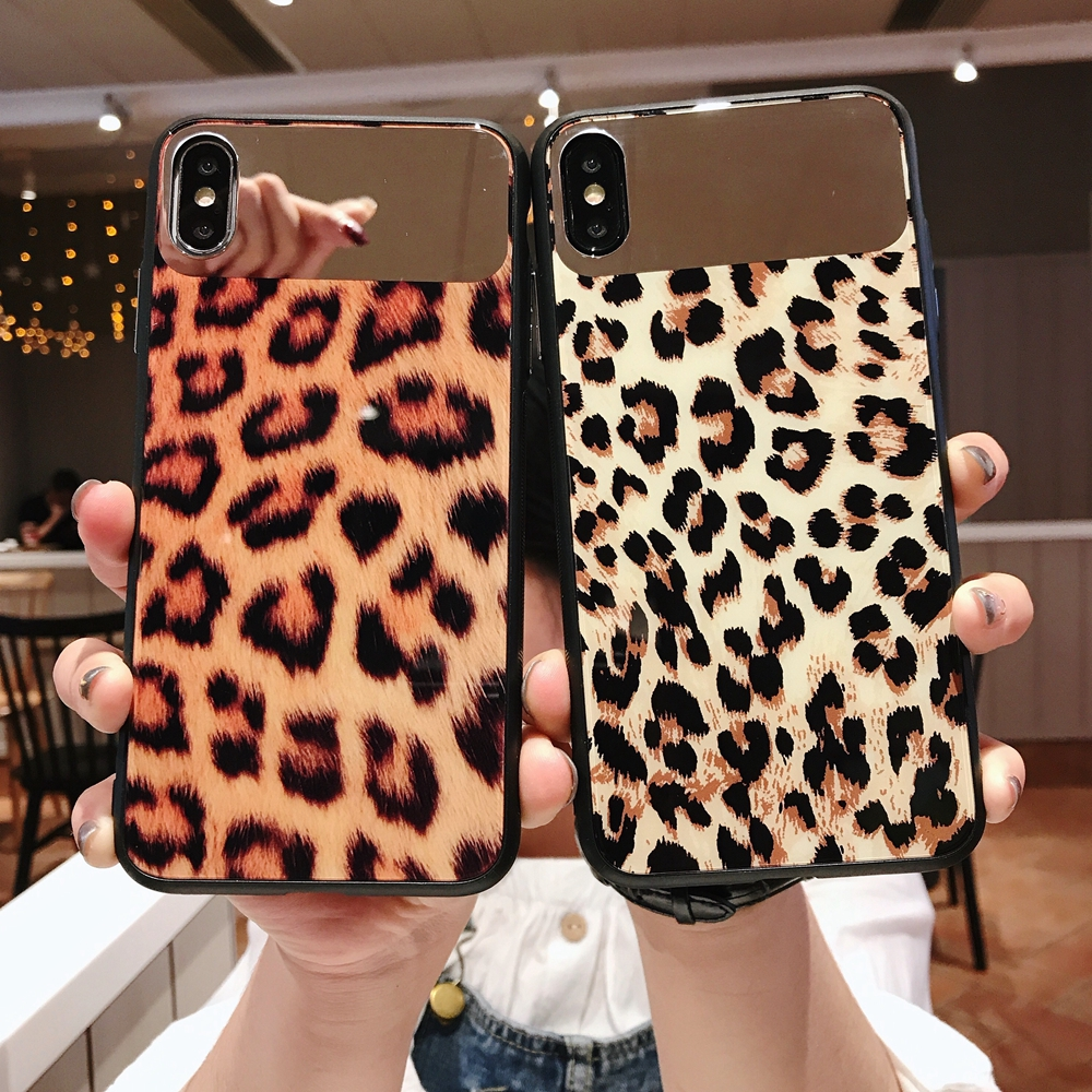 Leopard Tempered Glass Mirror Case for iPhone X XS Max XR Phone Cover фото