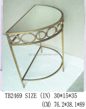 Half Moon Shaped Mirror Gold Console Table