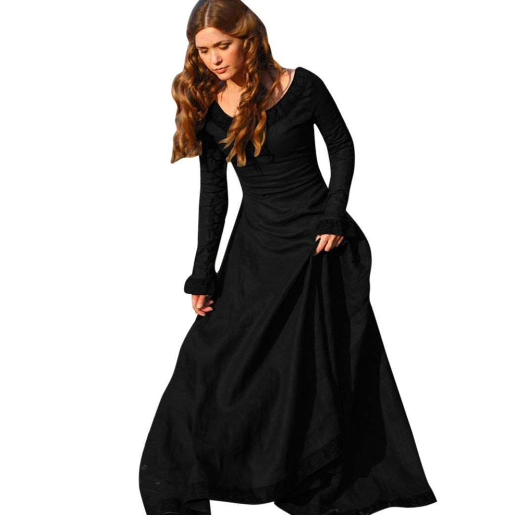 1151927bd9d266 Get Quotations · Auwer Spring Vintage Style Women Masquerade Medieval  Cotton Dress Cosplay Costume Princess Renaissance Gothic Dress Plus