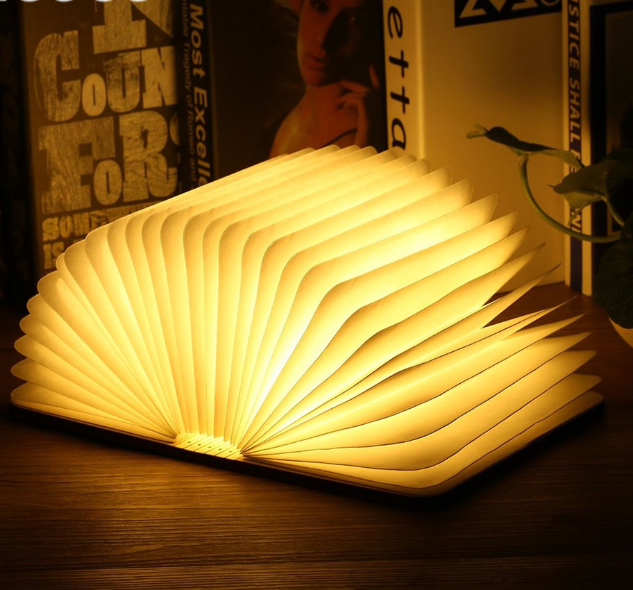 Rechargeable Foldable USB LED Magnetic Foldable Wooden Book Lamp