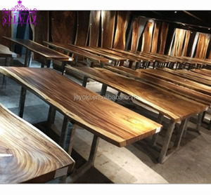 High Quality Walnut Restaurant Dining Solid Wooden Live Edge Slab Table