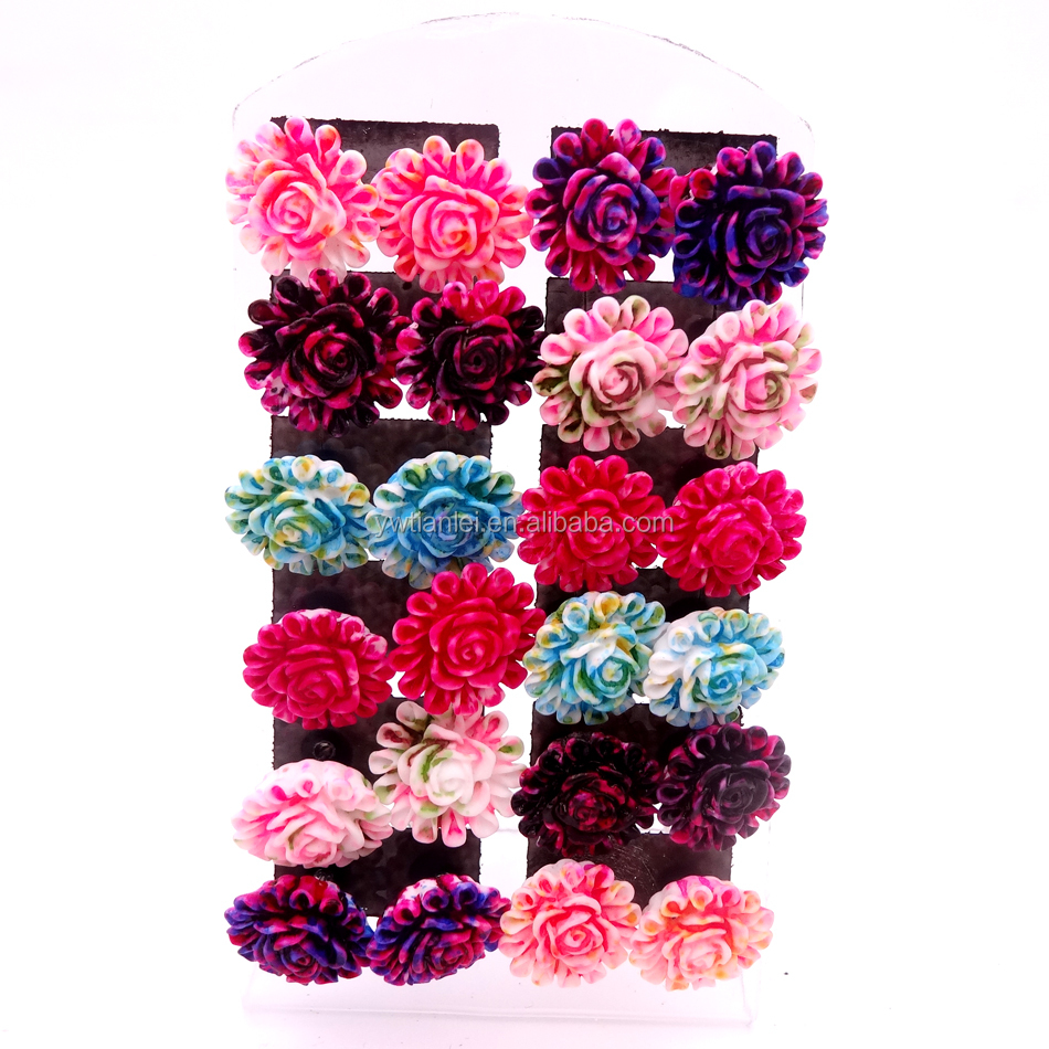 Free Shipping Small Lot Wholesale 12pairs Cheap Cute New Design Colorful Oil painting Resin Flower Iron Stick Stud Earrings фото