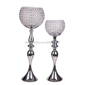Crystal Globe Votive Tealight Tall Candle Holder Candlestick Bowl
