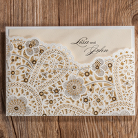unique design Wedding Invitations Cards Hollow Flora Customizable Vintage Engagement Card For Birthday Party Laser Cut CW5181