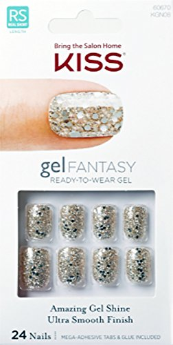 "**NEW** Kiss Nails GEL FANTASY ""KGN08"" (FAUX REAL) Short Design Nails w/Adhesive Tabs & Glue"