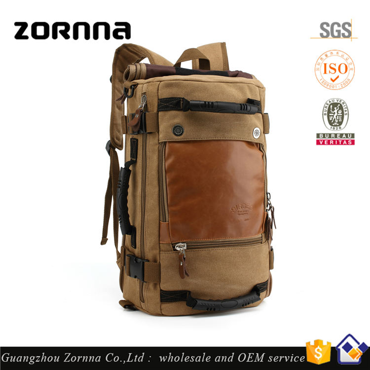 Zornna 2017 New Arrival European Fashion Multi-function Vintage Hiking Khaki Fitness Travel Sports Rucksack Canvas Camping Bag