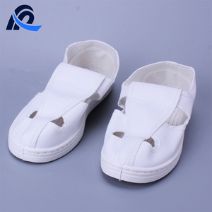 White Leather PVC Sole Antistatic 4 Holes Cleanroom Work Shoes
