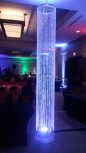 Decorative iridescent acrylic chandelier column , Hanging crystal lighted beaded column for weddings