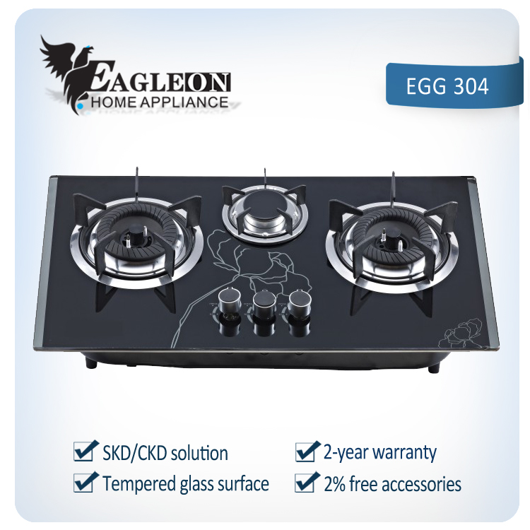Durable Glass Panel 3 burner Gas Stove / built-in