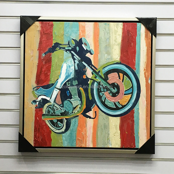 colorful abstract motorbike oil painting on canvas for home kids