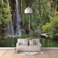 Factory price 3d wall stickers wallpaper waterfalls for bedroom