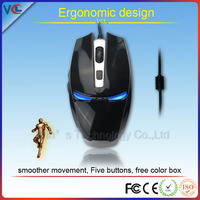 Smoother movement five buttons adjustable 6d iran man usb game mouse