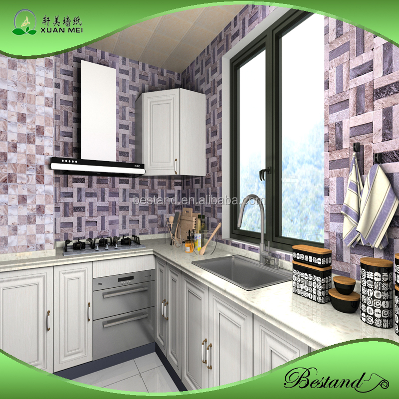 3d Fashion Design Kitchen Wallpaper Peel And Stick Pvc Wallpaper