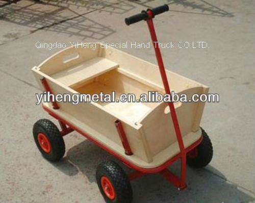 All-terrain wooden kids wagon hand cart TC4203B