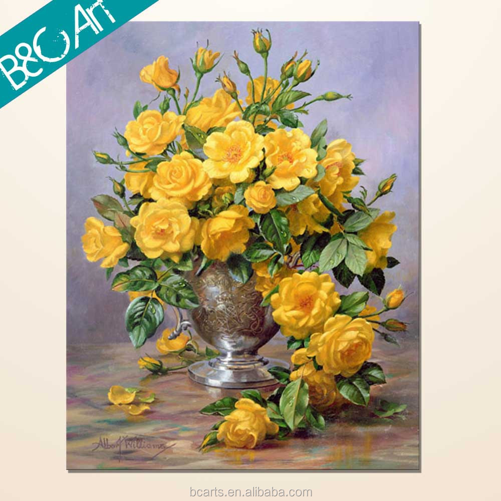 Impressive latest chinese rose picture oil painting