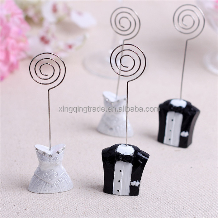 Resin future bride and groom seat clamp table card Black and white wedding dress place card holder