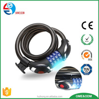 4 secret code steel cable lock for bicycles, doors, tools, with cool LED light, easy to use