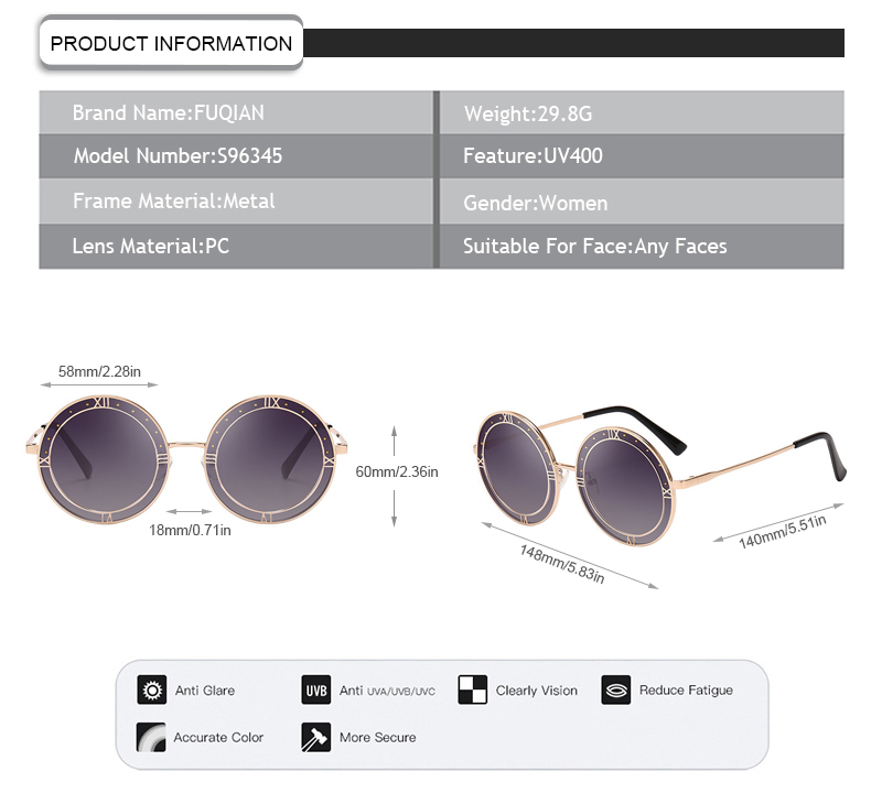 2019 New Arrivals Rivet Round Roman Metal Frame Retro Women Sunglasses
