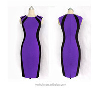 Fashion Womens Summer Fall Wear to Work Office Contrast Color OL Bodycon Midi Pencil Dresses