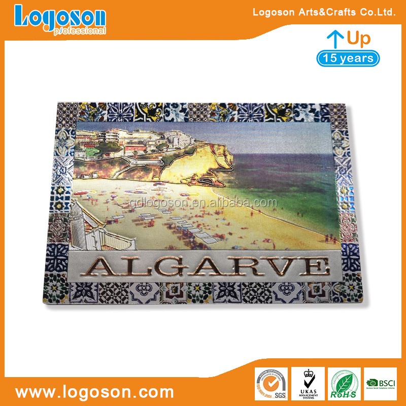 Free Design Portugal Tourists Gifts Foil Paper OEM Sticker Kitchen Decoration Algarve Landmark Fridge Magnets