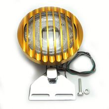FHADA224GD LED Motorcycle Headlight Angel Eye With Grill Cover Gold Fit For Harley Davidson Parts
