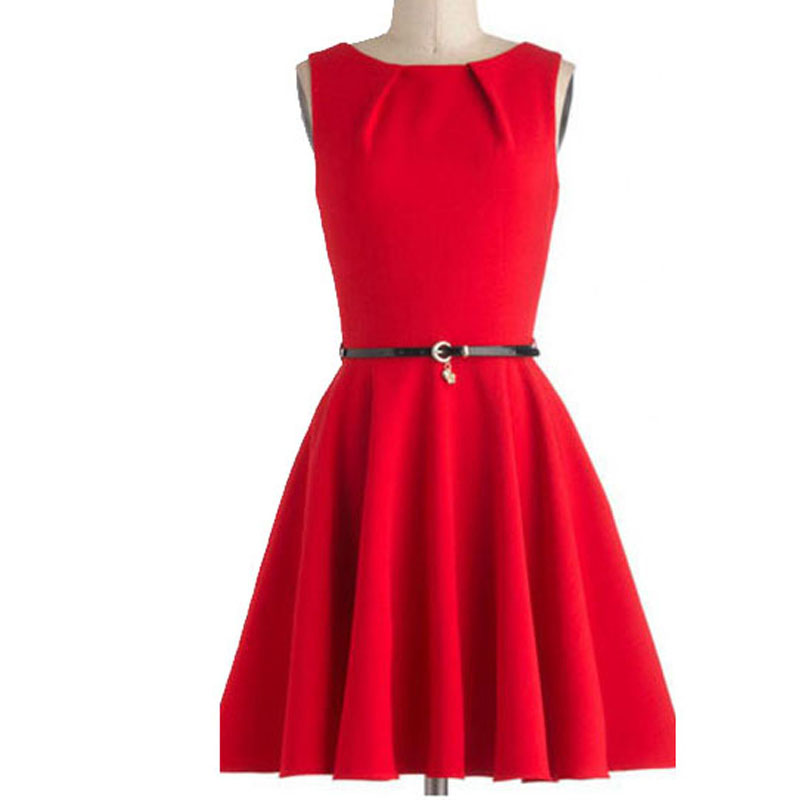 new summer plus size 50S vintage dress cotton round neck sleeveless solid  color retro formal prom 50s swing dresses