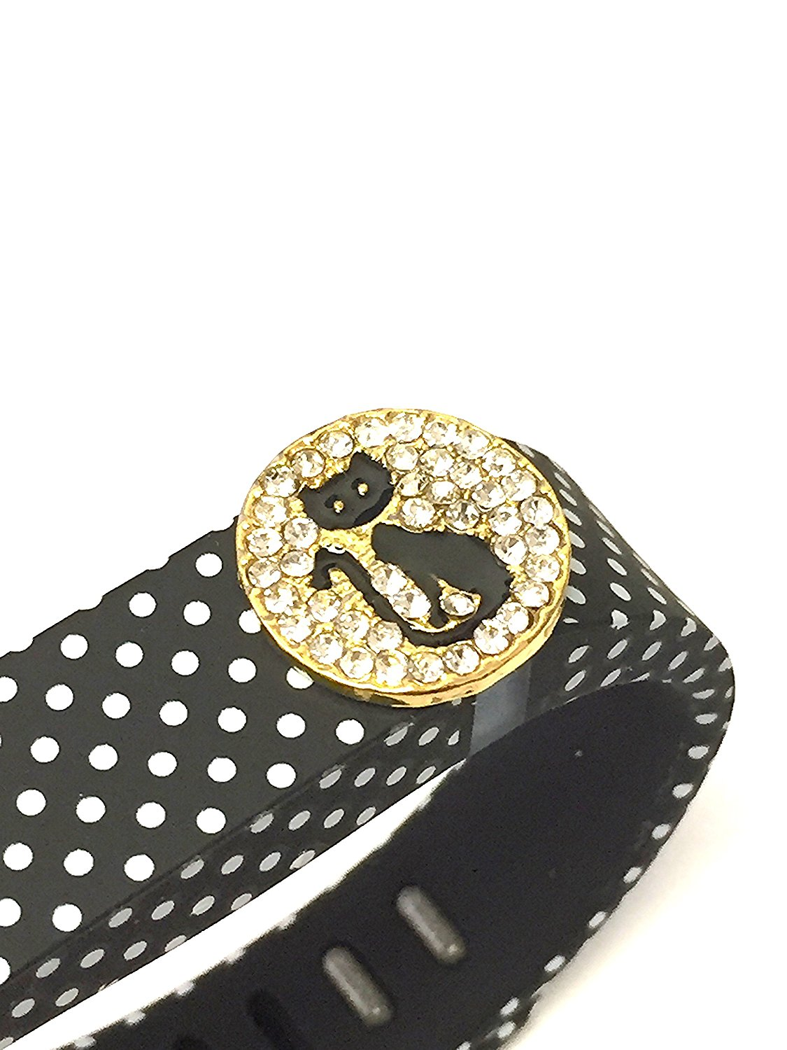 BSI 1pc Small Black with White Dots Spots Color Band with Jewelry Crystals Decoration /Black Cat With White Crystals and Gold/ for Fitbit FLEX Only With Metal Clasp Replacement /No tracker/+ Nice Crystals Feather Brooch