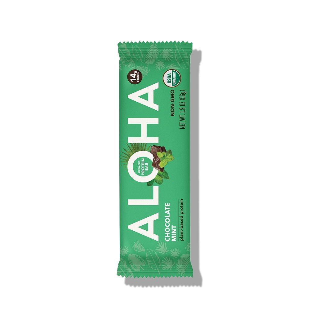 ALOHA Organic Plant Based Protein Bar, Chocolate Mint, Vegan, 1.9 oz, 12 Bars, PACKAGING MAY VARY