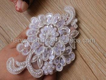 Cm butterfly white lace flower applique mesh trim for