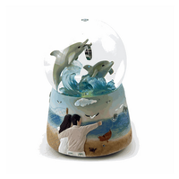 Hot Sale Cheap Polyresin customized snow globe of romantic dolphins