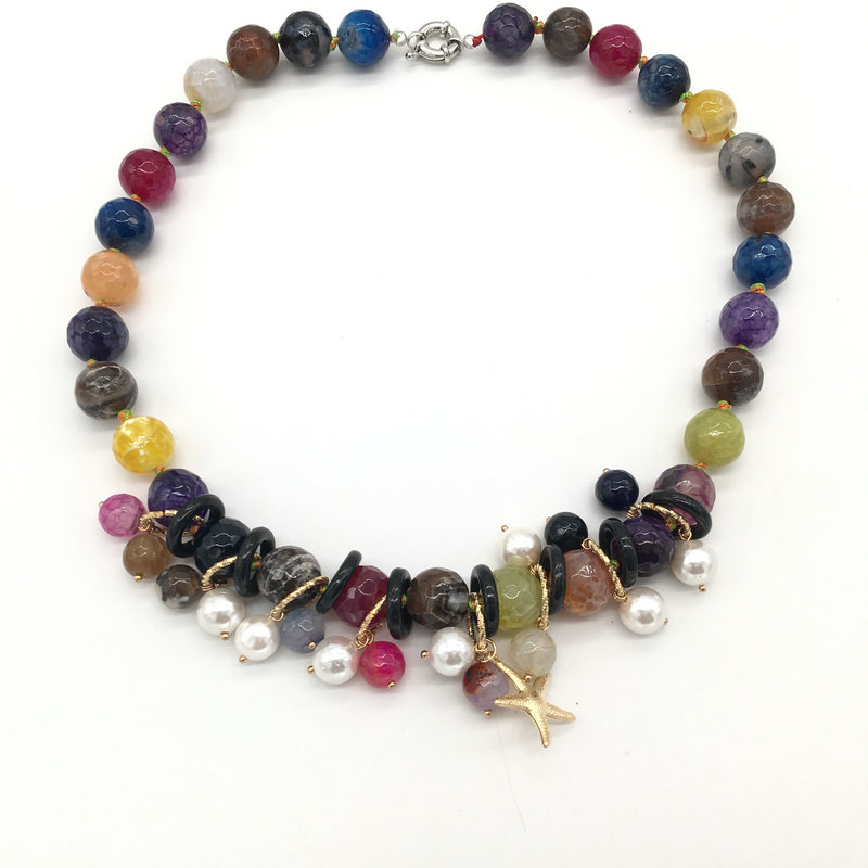 Wholesale jewelry hadmand gemstone necklace colorful agate necklace