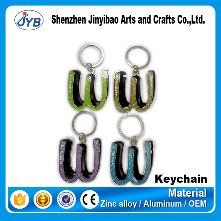 custom metal letter M keychain cool letter alphabet shape keyrings