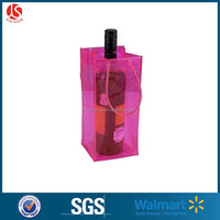 Design Printed Various Colors Transparent PVC Plastic Carrying Wine Beer Bottle Ice cooler Bag