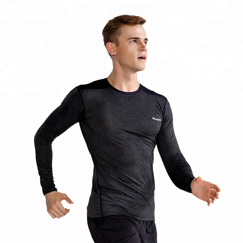 Großhandel Compression Jogging Sport Wear Herren Turnhalle Atmungs Fitness Kleidung Lange T Shirt