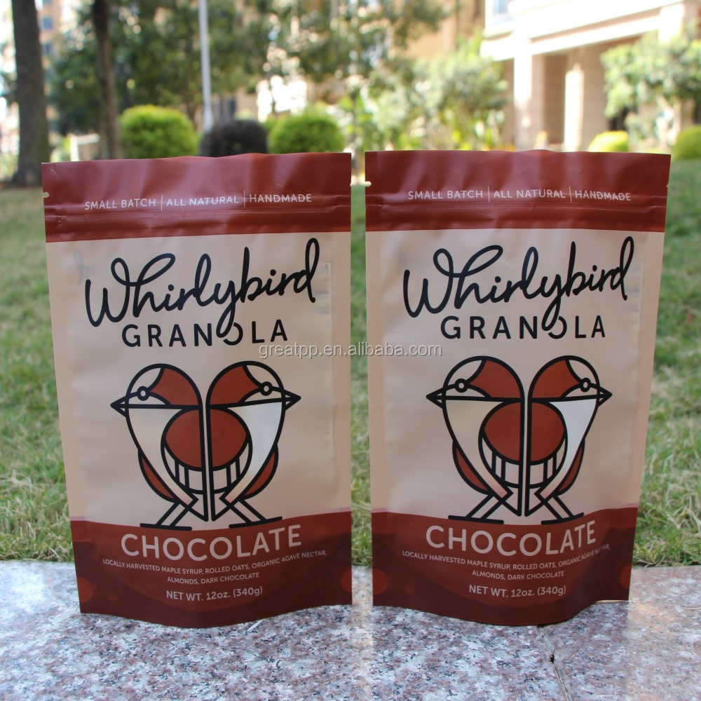custom label printed food grade laminated plastic chocolate packaging doypack bag with zipper