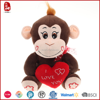 2016 hot sale valentines day gifts monkey with love heart for girlfriend