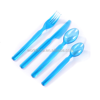 Disposable catering blue transparent plastic cutlery set