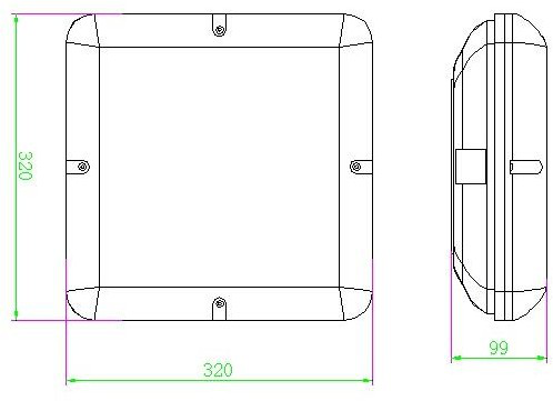 5 anos de garantia da bateria operado levou sensor de iluminação de emergência ip65 ik10 quadrado conduziu a lâmpada do teto