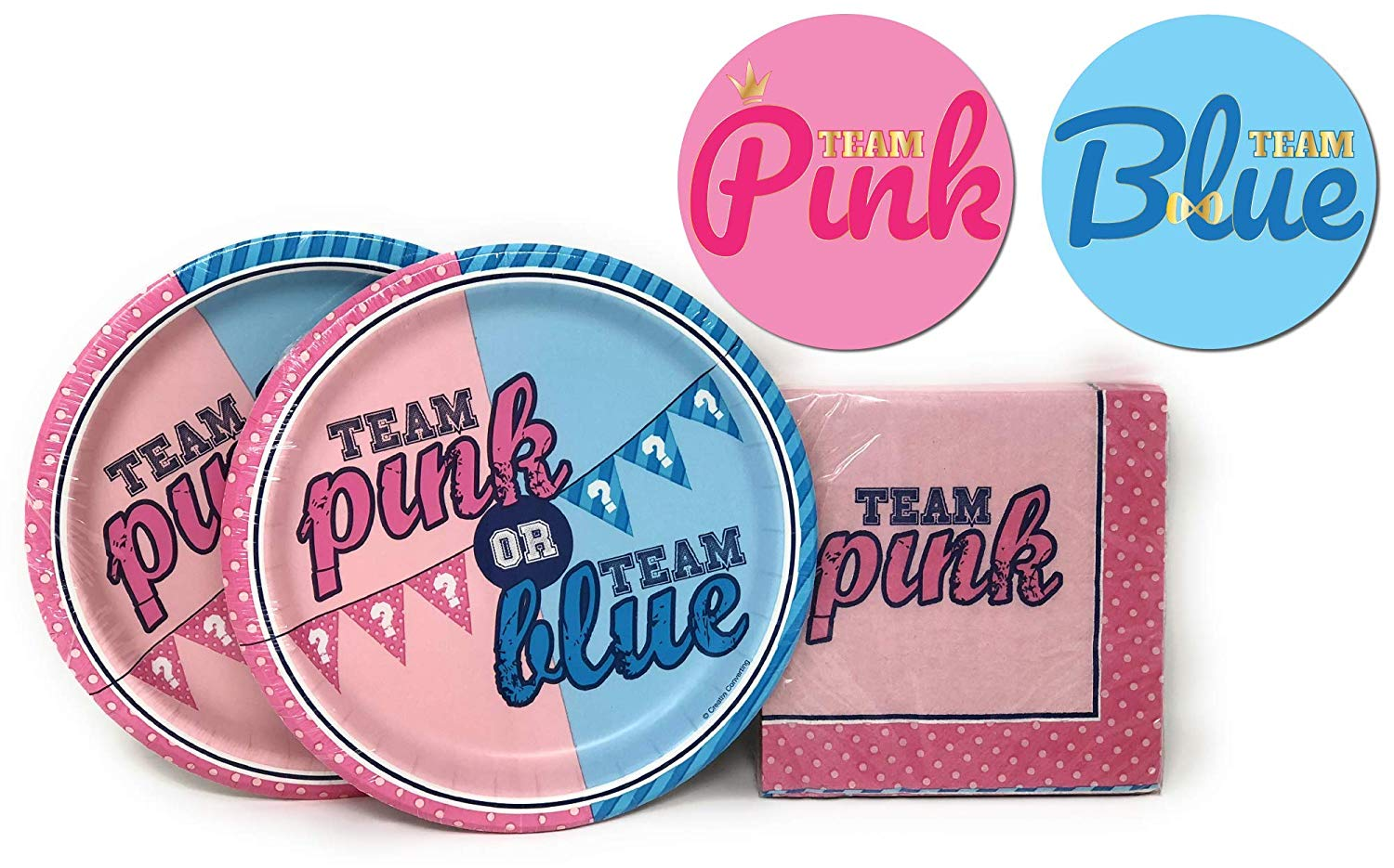 Gender Reveal Party Kit, Team Boy or Team Girl Baby Shower Party Supplies, Gender Reveal Tableware and Party Decoration, Team Boy and Team Girl Pink Blue Sticker Badge