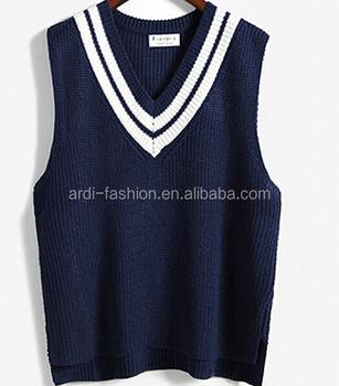 Trendy Handmade Knitting V Neck Sleeveless School Uniform Sweaters